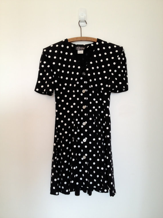 vintage 80s black and white polka dot mini sailor collar dress s m by vintspiration