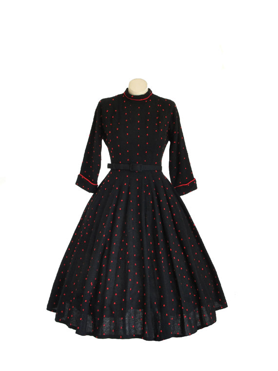 1940s Designer Dress / 40s New Look / Jonathan Logan / Winter by Vintagephilosophy