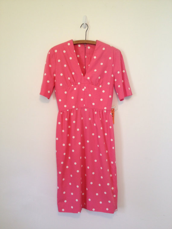 vintage pretty in pink polka dot dress s m by vintspiration