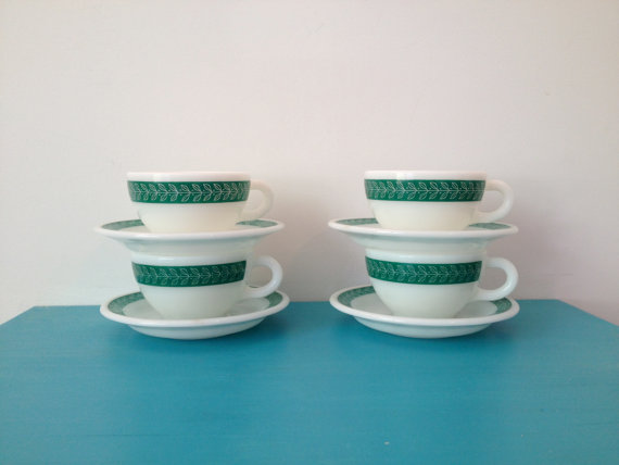 vintage 50s pyrex fern green cups and saucers set of 4