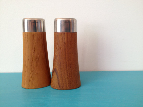 vintage mid century danish modern teak salt and pepper shakers