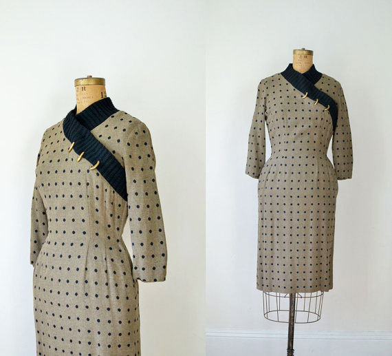 1950s Polka Dot Wiggle Dress / 50s Wool Sweater Dress by FemaleHysteria