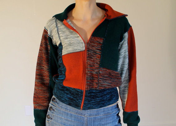Women's patchwork sweater, zip up with marled pattern, 1960's - 1970's by joyridevintage
