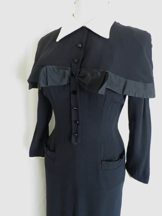 Vintage womens 40s dress black cape collar cocktail evening by GabriellasTreasures