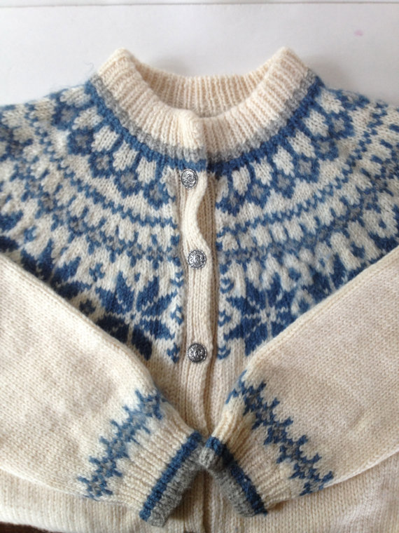 Vintage Dale of Norway Wool Sweater Cardigan / Blue White Nordic Snowflake Pattern / Vintage Scandinavian Folk Knit by VintageByBeth