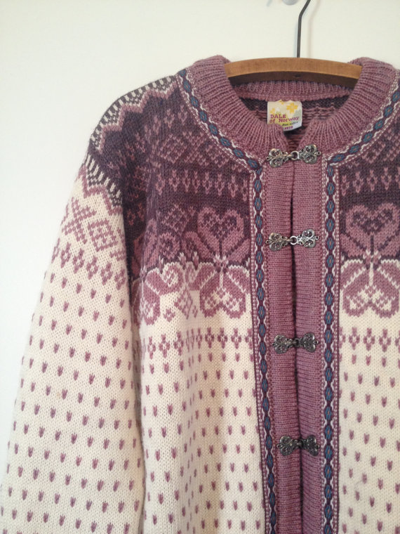 vintage dale of norway dusty rose cardigan sweater m by vintspiration