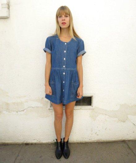 Denim Babydoll Dress Mini, vintage 90s, sz. S/M by fairseason