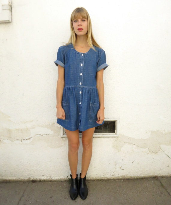 Denim Babydoll Dress Mini, vintage 90s, sz. S/M by fairseason