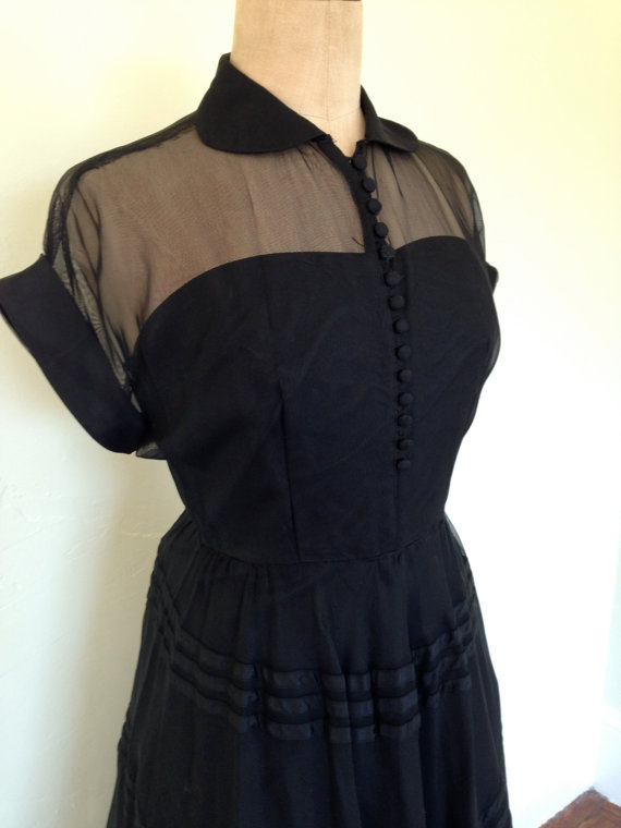 Black Halloween witch dress circle skirt peterpan collar sheer and stripe Vintage 50s womens S M by fancyfine