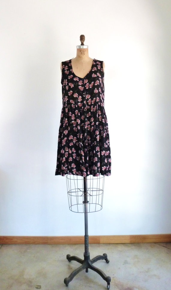 90s Grunge Dress Vintage Black Floral Gauzy Babydoll Sundress L by MetricMod