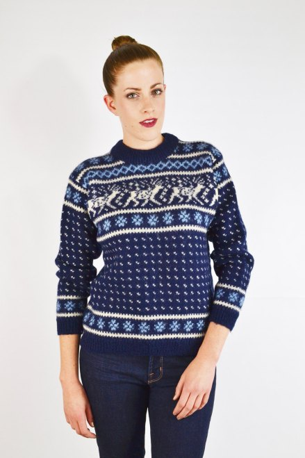 80s dale of norway sweater, blue fair isle sweater, blue fairisle sweater, blue nordic sweater, blue ski sweater, reindeer snowflake by trashyvintage