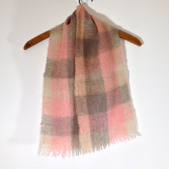vintage 60s scottish mohair and wool pink and gray plaid scarf