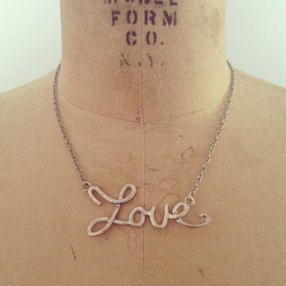 vintage 70s LOVE letters necklace