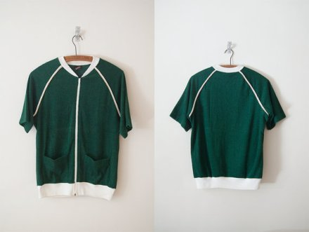 Vintage '90s JANTZEN Green Terry Cloth Zip-Up with Front Pockets, Unisex S