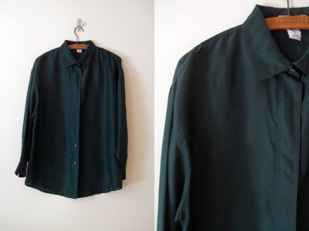 Vintage Express forest green silk blouse / 1980s S-M