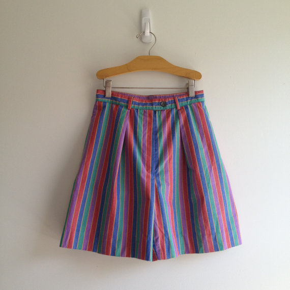 vintage 80s RAINBOW STRIPE pleated front high waisted shorts xs s