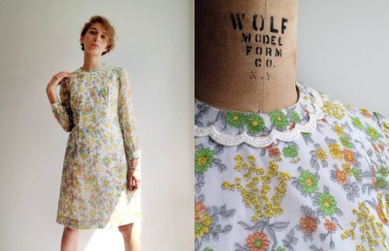 Vintage 1970s Flower Picker Dress Medium