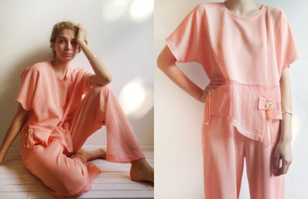 Vintage 1980s Peach Mesh Beachwear set Small - Medium