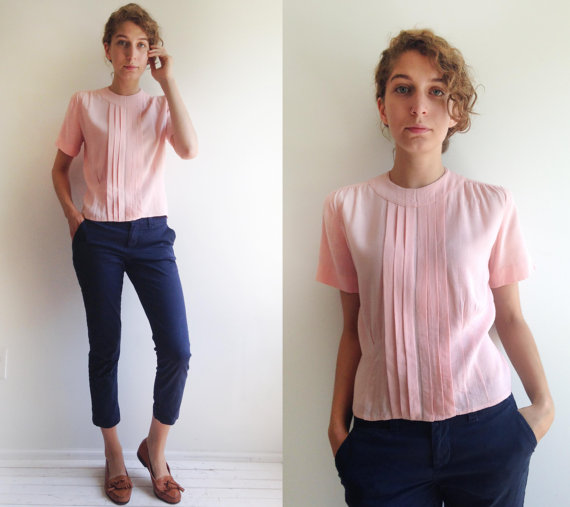 1950s pink pleated linen blouse · Pretty in Plain Pink · small