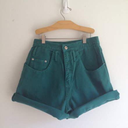vintage 90s HUNTER GREEN high waisted shorts s