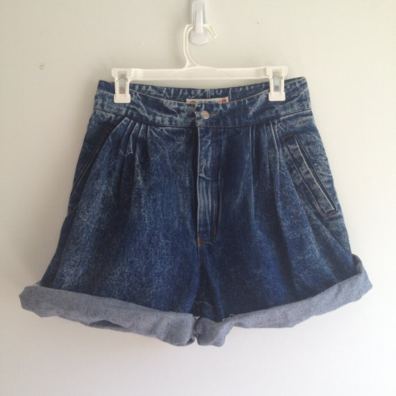 vintage 80s ACID WASH baggy cutoff shorts m