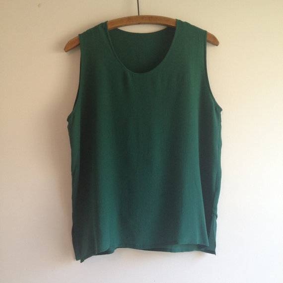 vintage FOREST GREEN minimalist silk tank m