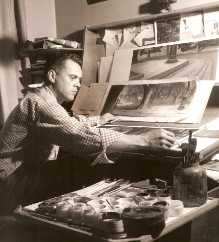 Hulett at work at Disney Studios, circa 1940's appears to be working on Lady and the Tramp