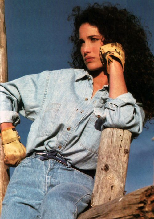 Andie MacDowell for The Gap, Vogue, March 1986.