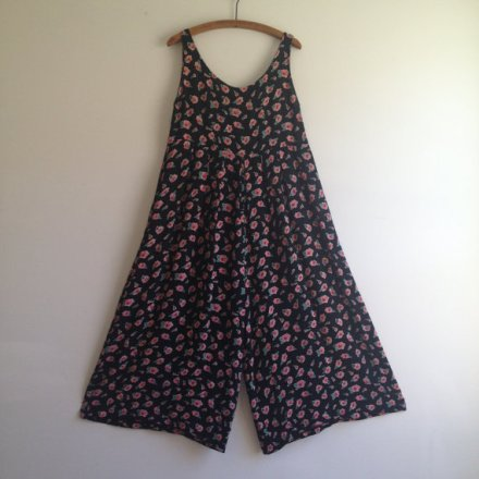 Vintage 1990s BETSEY JOHNSON Bib Overalls / Wide Leg Floral Jumpsuit M