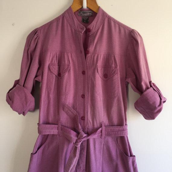 Vintage 80's Utility Jumpsuit / Lavender Cotton Mechanic Romper S M