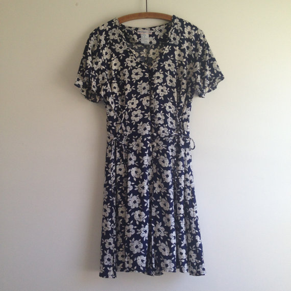 Vintage 90's Romper / Navy Floral Shorts Jumper M